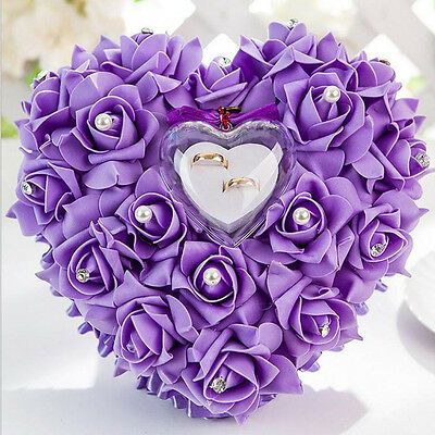 Romantic Rose Wedding Favors Heart Shaped Pearl Gift Ring Box Pillow Cushion HT