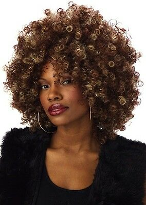 Fine Foxy Fro Afro 70s 80s Blonde Brown Women Costume Wig