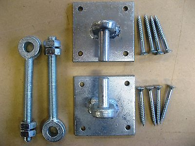Wrought Iron Gate Hinge 12mm Pin & Adjustable Galvanised Steel Metal Eye Bolts