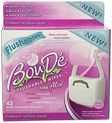 BouDe White Bathroom Wipe Dispenser With 42 Flushable Wipes