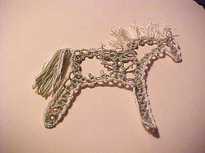 Tatted Miniature Horse Sage Cream Heart New by DOVE COUNTRY Shuttle TATTING