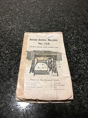 ORIGINAL ANTIQUE BOOKLET 1910 SINGER No. 115 SEWING MACHINE INSTRUCTION MANUAL