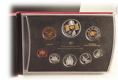 2005 Canada Proof Set With Selectively Gold Plated Canadian Flag Silver Dollar