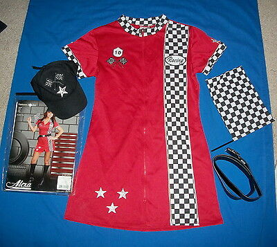 Racer Girl Costume Size L Stretchable 4 Pc Set  Pre-Owned Used Once $18 Free/Sh