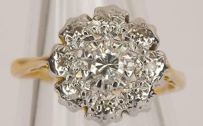 A VINTAGE SOLID 18ct GOLD 0.30ct DIAMOND CLUSTER RING SIZE K/L (US 5.5)
