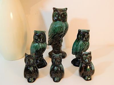 VINTAGE/RETRO CANADIAN BLUE MOUNTAIN POTTERY OWL COLLECTION (x6) - GIFT IDEA