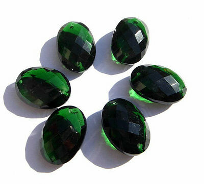 Chrome Green Quartz Faceted Oval Briolette Front To Back Drilled Size 20*14 MM