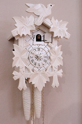 cuckoo clock black forest 1 day  german wood carving mechanical new white