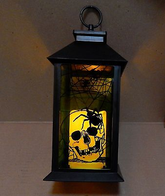 "Halloween LED Candle Glass Plate Lantern Eerie Alley Auto Timer 14""x5"" Skull 69I"