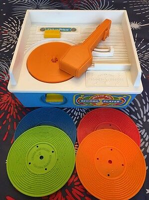 Vintage Fisher Price 2205 Working Music Box Record Player W 4 Records 1987