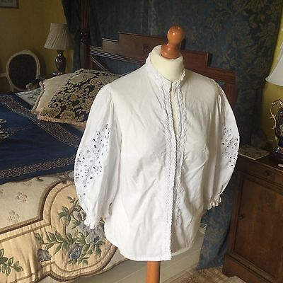 "LADIES VINTAGE WHITE COTTON FOLK BLOUSE SHIRT UK 14 38"" chest FRILL EMBROIDERED"
