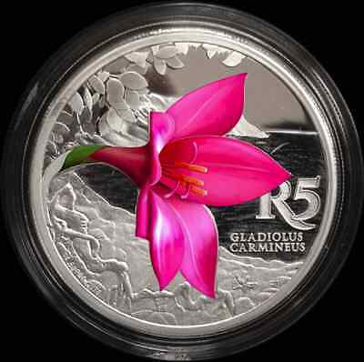 SOUTH AFRICA 2016 1st Coloured Silver Coins Kogelberg Bioshere Cliff Gladiolus