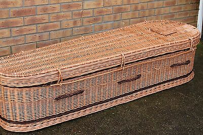 185 CM / 6F Handmade high-quality original NATURAL WICKER coffin for cremation