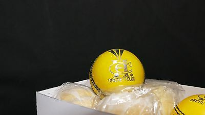 Brand new GRADE A Adult 5 1/2 Oz Yellow Indoor Cricket ball - English Leather