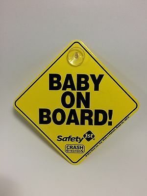 Baby On Board SAFETY Car Window Suction Cup Yellow REFLECTIVE Warning Sign
