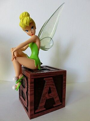 Disney Parks Autographed Tinker Bell On Block Figurine w/ Light Up Wings