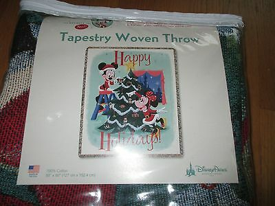 NIP Disney Parks Mickey Minnie Mouse Christmas Tapestry Woven Throw Afghan