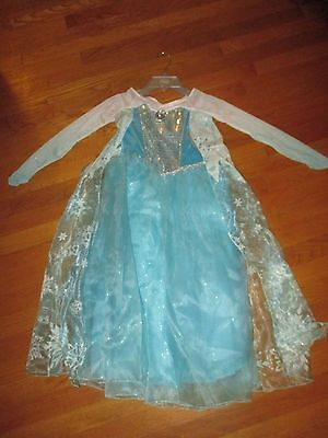 NWT Disney Store Frozen Elsa Gown Dress with Attached Cape Costume Size 7-8