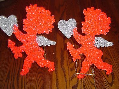 Vintage Melted Popcorn Cupid Valentine's With Heart And Arown In Hands