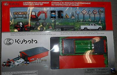 Kubota Construction Equipment and Shed Toy Play Set # 77700-07897 Ages 3+