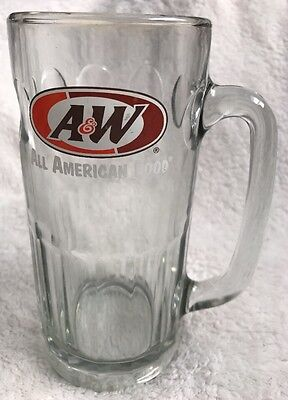 """Large A&W Root Beer All American Food Drinking Mug Glass 16oz, 7"""" Tall"""