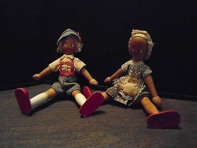 Vintage Wooden Dolls - Boy & Girl - Jointed Arms & Legs - Hand-Painted Faces