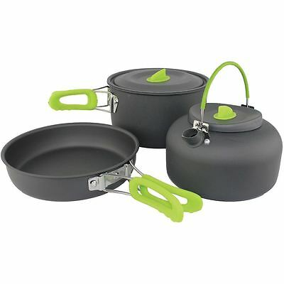 Snowdonia 3 piece Outdoor Camping Hiking Picnic Foldable Cookware Set Kettle Pan