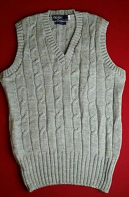Polo Ralph Lauren VTG 70s Sz 40 Wool Cable Knit Mens Gray Sweater Vest NOS NWOT