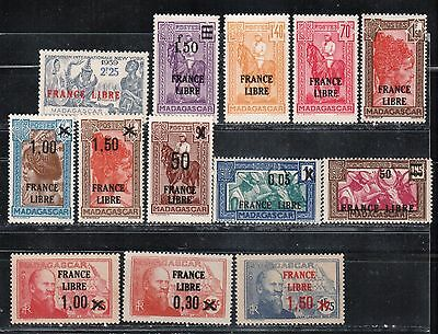 1942 French colony stamps, Madagascar, France Libre 30c to 2.25fr MH,