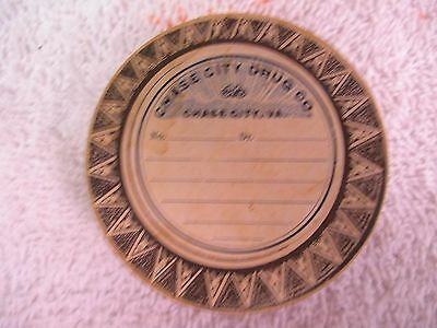 """Vtg Cardboard Round Pill Box RX Container Chase City, VA 2.5"""" Unused Drug store"""