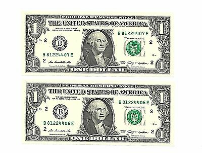 USA ONE DOLLAR BANKNOTES x2 ,  CONSECUTIVE NUMBERS B SERIES