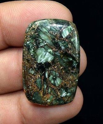 Brilliant  29.15 Cts. Natural Copper Seraphinite Cab For Sterling Silver Jewelry