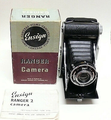 Ensign Ranger Folding Camera, Boxed With Instructions.
