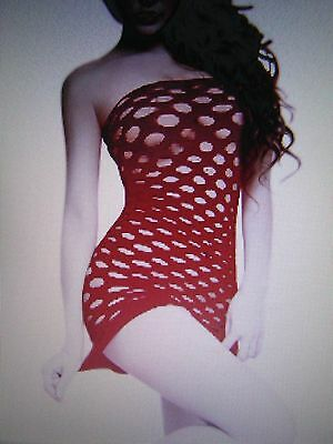 Fishnet Body Stocking One Size Fits All Red