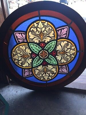 Sg 1108 Antique Round Painted And Fired Stainglass Window 25 Inch