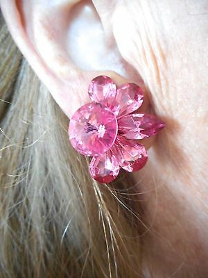 Authentic Vintage-1980's Pink Rhinestone Glamour Clip Earrings