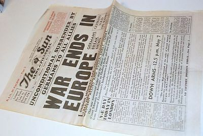 8 May 1945 WWII Newspaper The Sun  Australia Melbourne - War ENDS in Europe yy