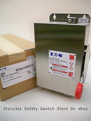 Eaton 316 Stainless DH361UWK2316 30a 600v Non-Fused Safety Switch 6 Available