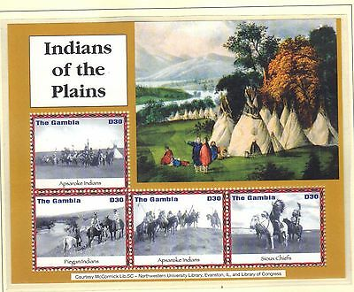 Gambia Mnh 2004 Indians Of The American Plains On 2 Souvenir Sheets