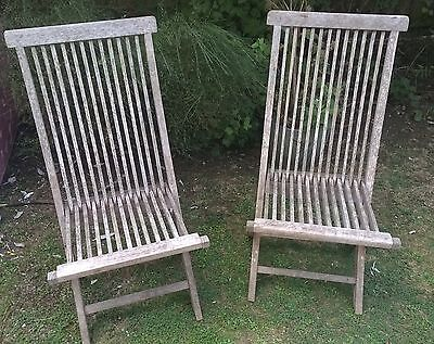 2 x solid teak, folding garden chairs, these are untreated