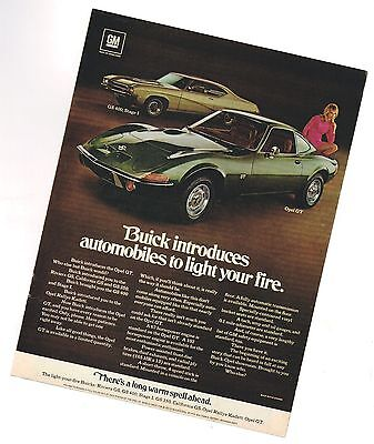1969 Buick STAGE 1 / OPEL GT Ad / Advertisement  brochure info : GS400,GS-400