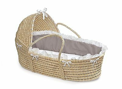 Natural Hooded Moses Basket - Gray/White Bedding