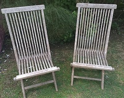 2 x solid teak, folding garden chairs, untreated