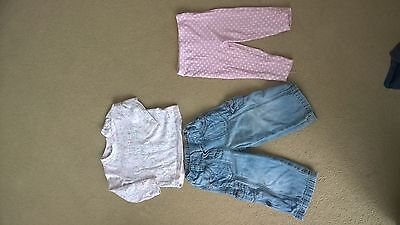 Bundle of baby girls clothes, 9-12 months, 3 items. Next, George & Matalan.