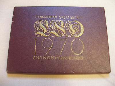 Royal Mint 1970 Early Decimal Proof Set 7 coins with crown and insert.