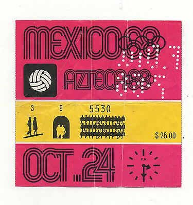 Orig.Ticket   Olympic Games MEXICO 1968  Football 3.Place match JAPAN - MEXICO !