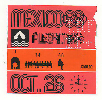 Orig.Ticket  Olympic Games MEXICO 1968  -  SWIMMING 26.10. / 5 Final`s  !!  RARE