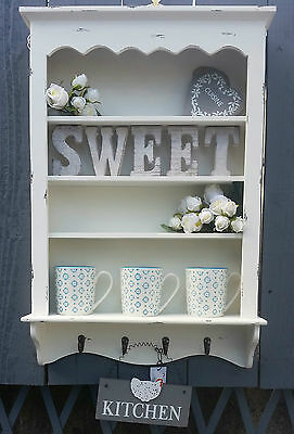 Shabby Wall Shelf Unit Cabinet Cupboard Display Hooks Storage Kitchen Bathroom