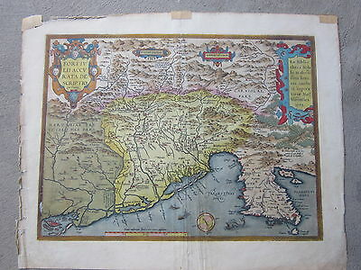 Antique map  Gulf of Venice , North Italy  Decorative Colorful with date of 1573