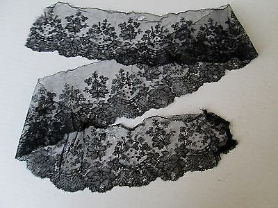 "ANTIQUE FRENCH CHANTILLY BLACK LACE TRIM/EDGING. 49"" x 4 1/2"""
